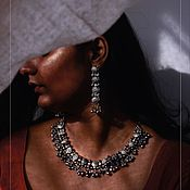 Украшения handmade. Livemaster - original item Earrings and Necklace Gujarat. Handmade.