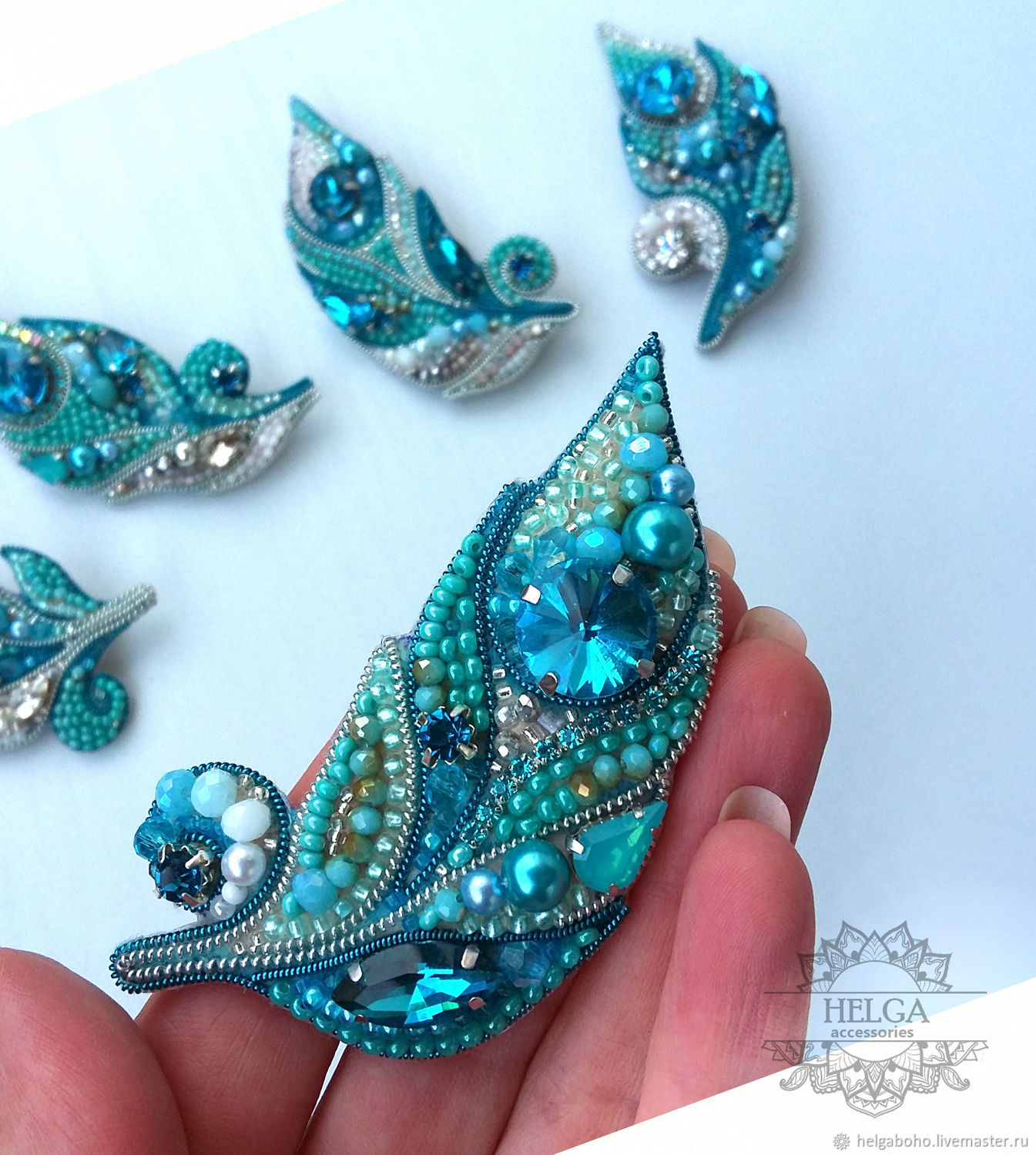 Brooch-pin: Turquoise feather, Brooches, Lobnya,  Фото №1