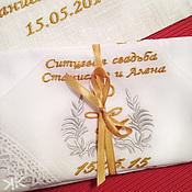 Аксессуары handmade. Livemaster - original item A set of handkerchief for men and women Monogrammed Gingham wedding. Handmade.