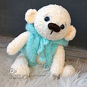 Куклы и игрушки handmade. Livemaster - original item Teddy bear knitted in a turquoise vest with a hood. Handmade.