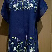 Одежда handmade. Livemaster - original item Embroidered tunic (Night meadow) ЖТ5 -043. Handmade.