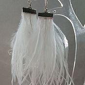 Украшения handmade. Livemaster - original item Earrings-brush: White feather. Handmade.