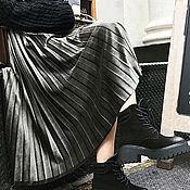 Юбки ручной работы. Ярмарка Мастеров - ручная работа Юбка бархатная плиссированная серая графит. Handmade.