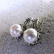 Украшения handmade. Livemaster - original item Earrings in white Majorca in nielloed silver. Handmade.
