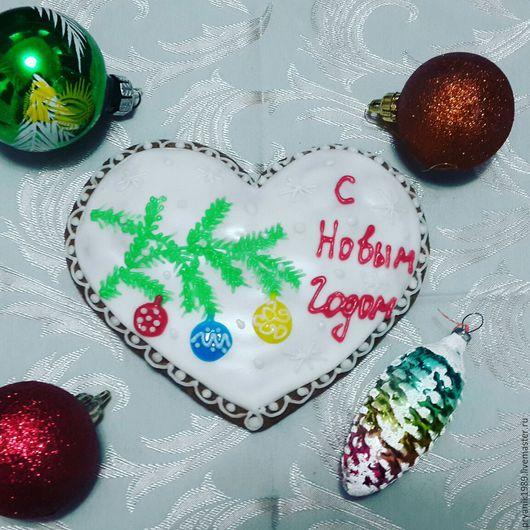Новый год 2017 ручной работы. Ярмарка Мастеров - ручная работа. Купить Имбирный пряник Новогодний... сердце. Handmade. Сердце
