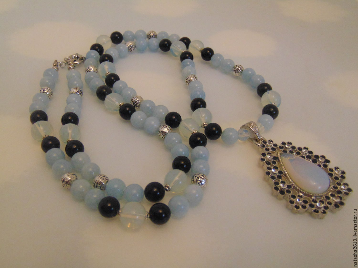 Long necklace with pendant with pendant made of natural stones 'In the moonlight', Necklace, Velikiy Novgorod,  Фото №1