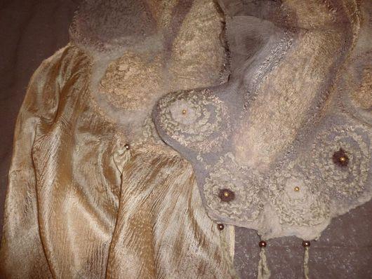 Шарфы и шарфики ручной работы. Ярмарка Мастеров - ручная работа. Купить Шарфик валяный Бежевый перламутр. Handmade. Бежевый