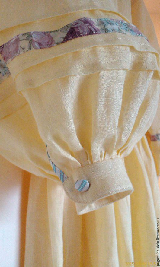 Платья ручной работы. Ярмарка Мастеров - ручная работа. Купить Нежно жёлтое льняное платье с пластроном. Handmade. Льняное платье