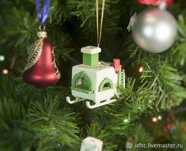 Новогодние игрушка на елку Печка Русская 1013 Green, Елочные игрушки, Москва,  Фото №1