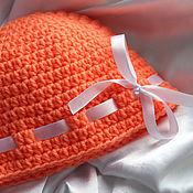 Работы для детей, ручной работы. Ярмарка Мастеров - ручная работа Мандаринка - оранжевая шапочка для малышки. Handmade.