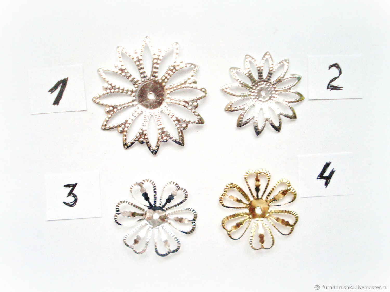 Филигрань цветок серебро золото шапочка для бусин
