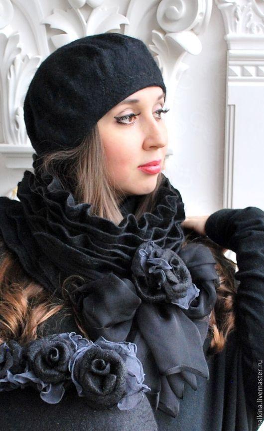 Шарфы и шарфики ручной работы. Ярмарка Мастеров - ручная работа. Купить Черный шарф и берет Маргарита. Handmade. Черный