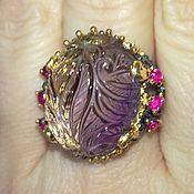 """Кольцо """"Сияние Зари"""" с натуральным аметрином и рубинами."""