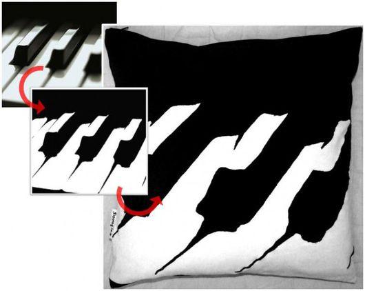 """Текстиль, ковры ручной работы. Ярмарка Мастеров - ручная работа. Купить Подушка """"Piano"""". Handmade. Чёрно-белый, подушка декоративная"""