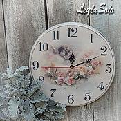Для дома и интерьера ручной работы. Ярмарка Мастеров - ручная работа часы настенные ангелы на часах и розы. Handmade.