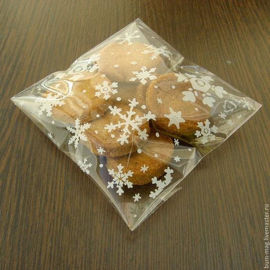 Упаковка ручной работы. Ярмарка Мастеров - ручная работа. Купить СНЕЖИНКИ пакетик упаковочный с липким клапаном. Handmade. Пакетик