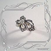 Украшения handmade. Livemaster - original item Ring LEAF 925 sterling silver with cubic Zirconia.. Handmade.
