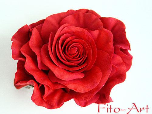 Заколки ручной работы. Ярмарка Мастеров - ручная работа. Купить Заколка-красная роза. Handmade. Красный, заколка с цветком