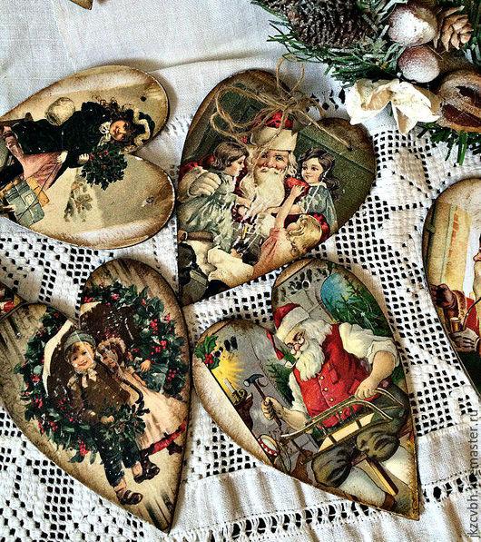 Новый год 2017 ручной работы. Ярмарка Мастеров - ручная работа. Купить Новогодняя игрушка Винтажное сердце. Handmade. Комбинированный