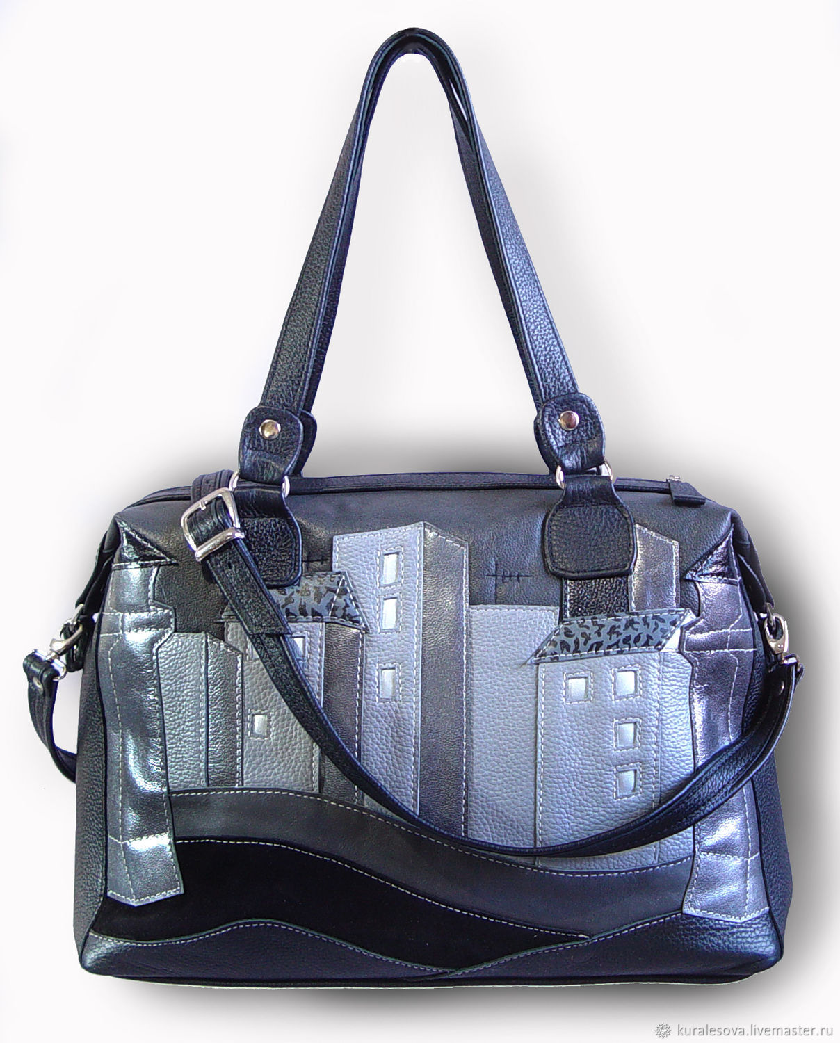 Handbags handmade. Livemaster - handmade. Buy Leather bag ' Night city'.Handmade, dark blue, bag custom, izolon