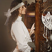 Одежда handmade. Livemaster - original item White blouse in boho style with a collar with small stands. Handmade.