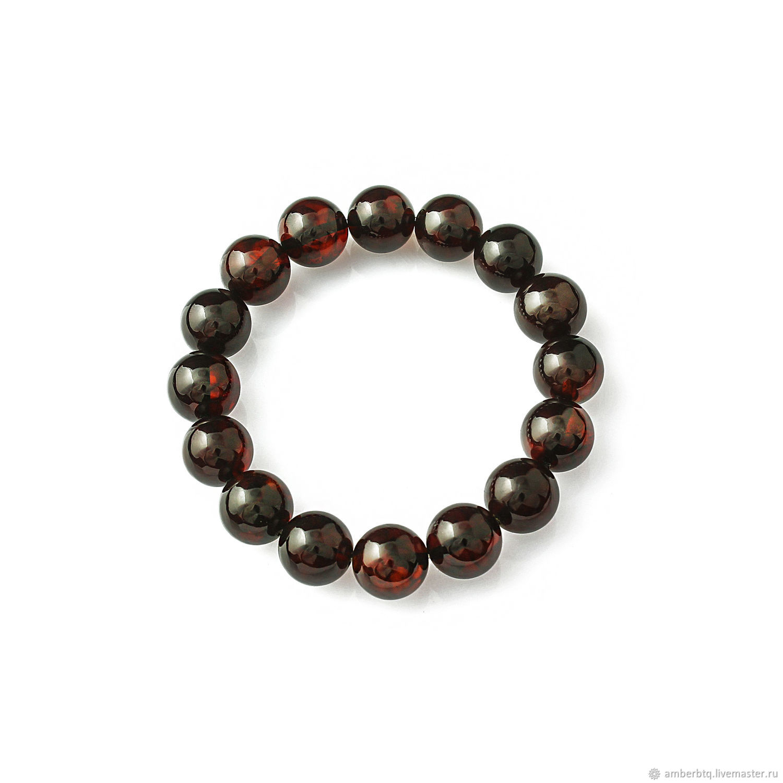 Amber bracelet 18 cm cherry (12 mm) with elastic band, Bead bracelet, Kaliningrad,  Фото №1