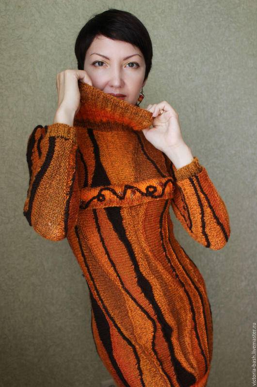 """Платья ручной работы. Ярмарка Мастеров - ручная работа. Купить Авторское вязаное платье """"Моя близкая осень"""". Handmade. Рыжий"""