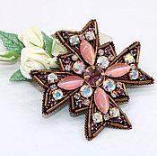 Украшения handmade. Livemaster - original item Royal embroidered handmade brooch Vintage style crystals brooch. Handmade.