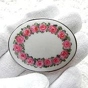 Винтаж handmade. Livemaster - original item Silver antique brooch Roses,porcelain,silver,Sweden,1916. Handmade.