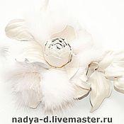 """Украшения ручной работы. Ярмарка Мастеров - ручная работа Брошь c розой  """"Luxury"""" из белой норочки. Handmade."""