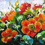 Картины и панно handmade. Livemaster - original item Small canvas oil painting. Garden flowers. Gift painting wall art. Handmade.