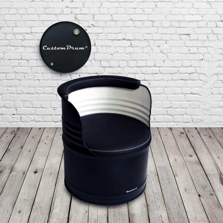 Кресло из бочки в стиле лофт черно-белое Black&White, Кресла, Ростов-на-Дону,  Фото №1