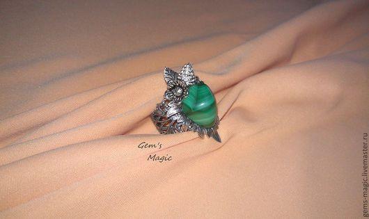 """Кольца ручной работы. Ярмарка Мастеров - ручная работа. Купить Кольцо """"Каменный цветок""""-малахит. Handmade. Винтажное украшение, цветы"""