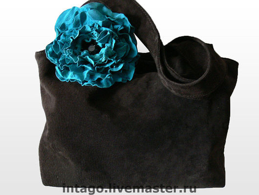 Handbags handmade. Livemaster - handmade. Buy Bag and brooch. ' Turquoise poppy in chocolate.'( XL).Bag