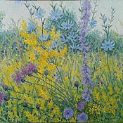 Картины и панно handmade. Livemaster - original item A summer meadow. (the picture is on canvas x oil). Handmade.