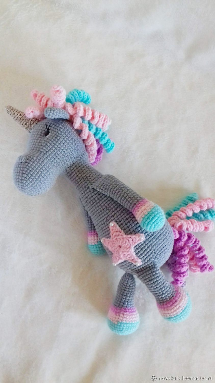 Handmade Crocheted Unicorn toy, Amigurumi dolls and toys, Novokuibyshevsk,  Фото №1