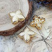 Материалы для творчества handmade. Livemaster - original item Flower bead 16x17x6 mm gold (4008). Handmade.
