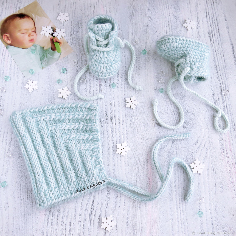 75435ed83 Ярмарка Мастеров - ручная работа. Купить Зимний вязаный комплект · Для  новорожденных, ручной работы. Зимний вязаный комплект шапочка и пинетки для  мальчика ...