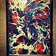 Абстракция ручной работы. Ярмарка Мастеров - ручная работа. Купить Дракон. Handmade. Бордовый, эбру, дракон, эбру