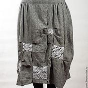 Одежда ручной работы. Ярмарка Мастеров - ручная работа Барахолка! Льняная юбка с кружевными вставками.. Handmade.
