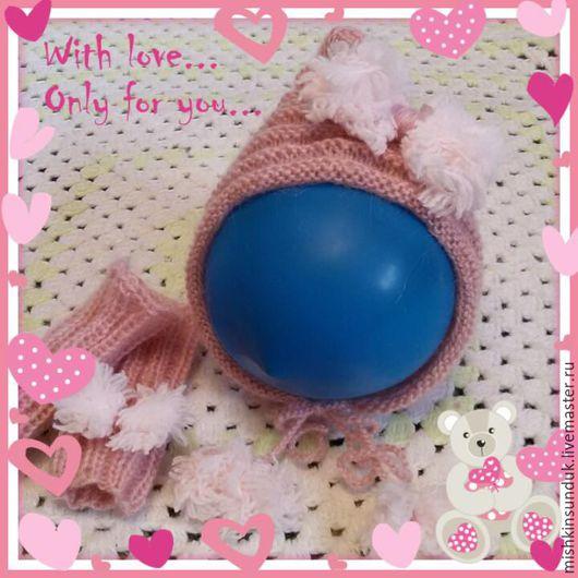 Шапки и шарфы ручной работы. Ярмарка Мастеров - ручная работа. Купить Комплект шапочка и гетры для фотосессии новорожденных малышей. Handmade.