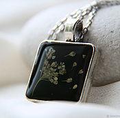 Украшения handmade. Livemaster - original item Black square pendant made of epoxy resin with these herbs.. Handmade.