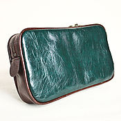 Сумки и аксессуары handmade. Livemaster - original item Cosmetic bag made of blue-green PU Leather. Handmade.