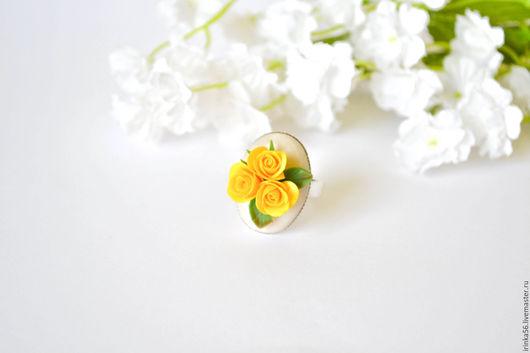 """Кольца ручной работы. Ярмарка Мастеров - ручная работа. Купить Кольцо """"Желтые розы"""". Handmade. Желтый, желтый цвет"""