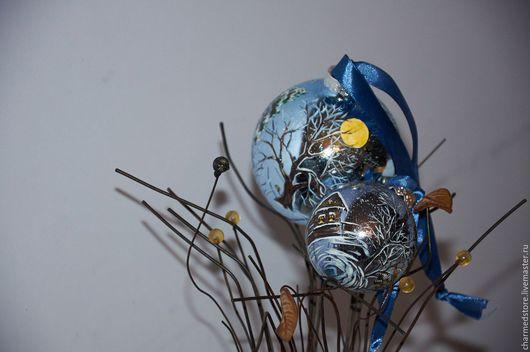 """Новый год 2017 ручной работы. Ярмарка Мастеров - ручная работа. Купить Набор елочных шаров """"Зимняя ночь"""". Handmade."""