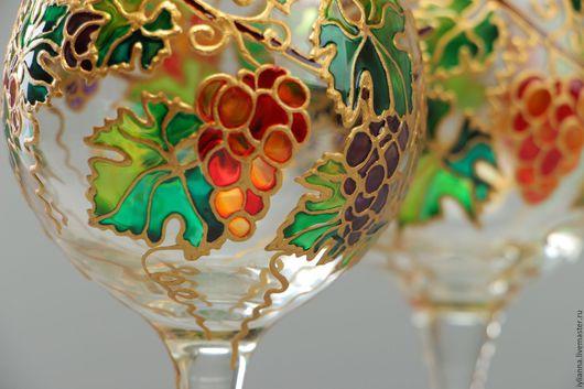Бокалы, стаканы ручной работы. Ярмарка Мастеров - ручная работа. Купить Бокалы для вина «Виноградная лоза». Handmade. Витражная роспись