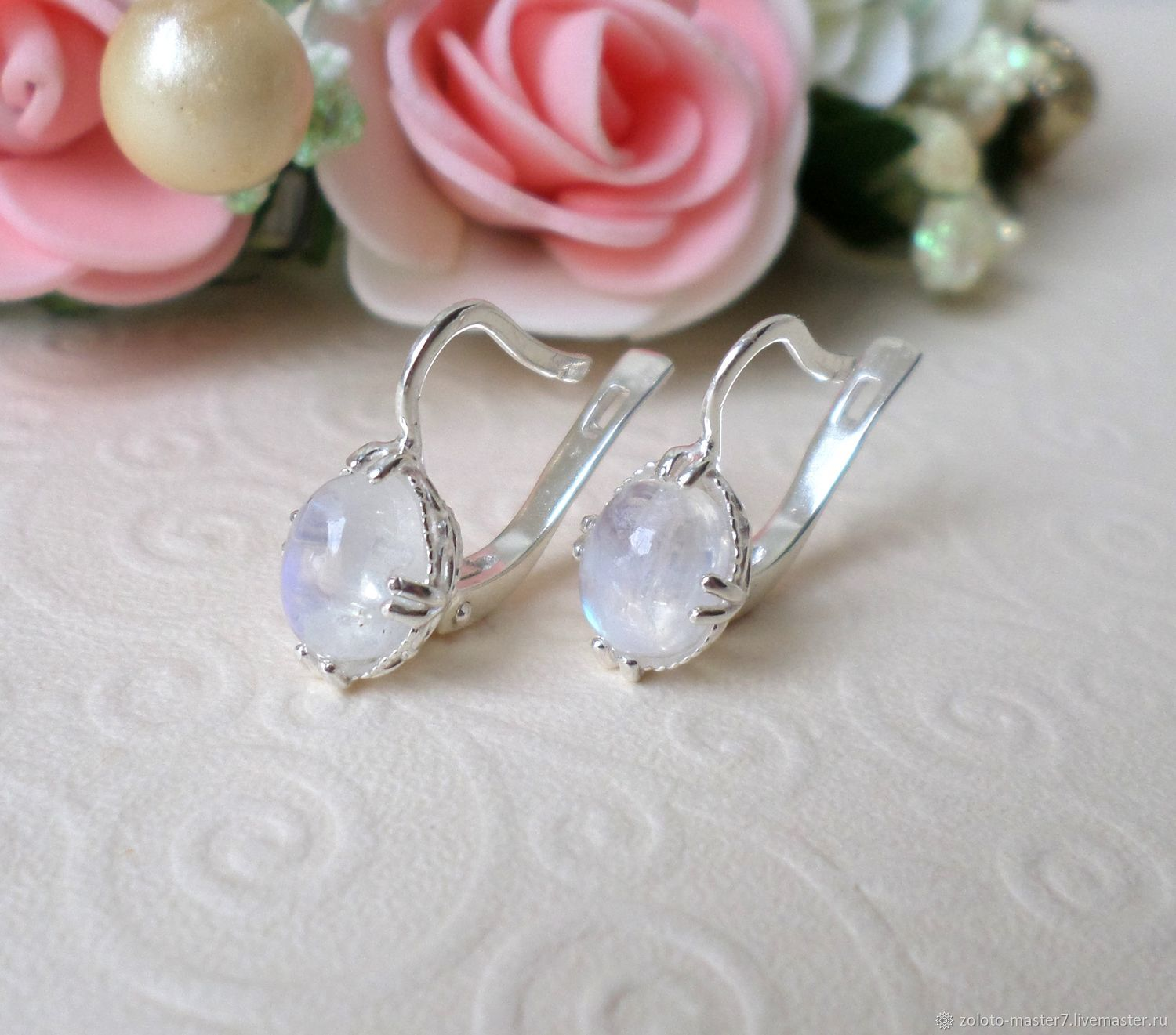 Silver earrings with moonstone. Natural, Earrings, Chaikovsky,  Фото №1