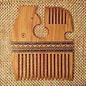 """Русский стиль ручной работы. Ярмарка Мастеров - ручная работа Гребень, маркетри, """"Северная Птица"""", дуб с разными  русскими узорами. Handmade."""