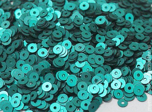 Вышивка ручной работы. Ярмарка Мастеров - ручная работа. Купить Пайетки (15 грамм) 4 мм. Handmade. Зеленый