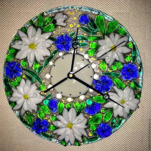 """Часы для дома ручной работы. Ярмарка Мастеров - ручная работа. Купить Часы из стекла """"Букет полевых цветов"""". Handmade. Комбинированный"""
